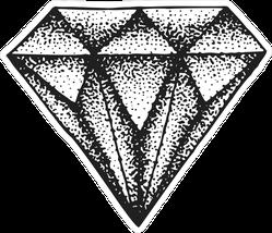 Black Illustrated Diamond Sticker