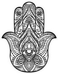 Black Illustration Of Boho Hamsa Buddha Sticker