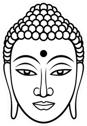 Black Line Buddha Face Sticker