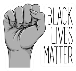 Black Lives Matter. Human Hand. Fist Raised Up Drawing Sticker