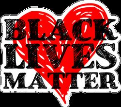 Black Lives Matter Text On Heart Sticker