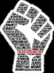 Black Lives Matter Word Cloud Fist Sticker