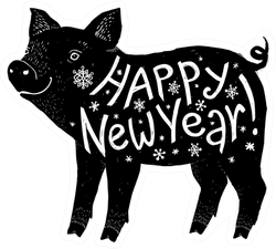 Black Pig Silhouette With White Happy New Year Lettering Sticker