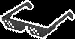 Black Pixel Glasses Sticker