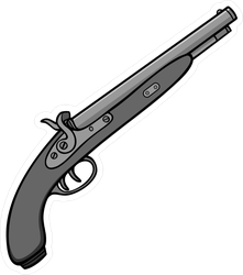 Black Powder Gun Illustration Sticker
