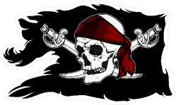 Black Ragged Pirate Flag With Skull And Sabers Sticker