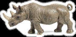 Black Rhino On White Background Sticker