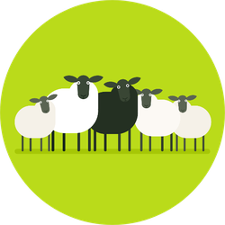 Black Sheep In The Herd On Bright Green Sticker