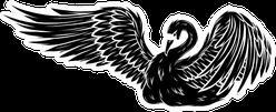 Black Silhouette Cartoon Beauty Swan Sticker