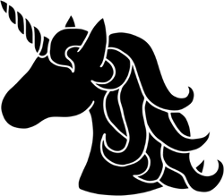 Black Silhouette Unicorn Fairy Tale Creature Sticker