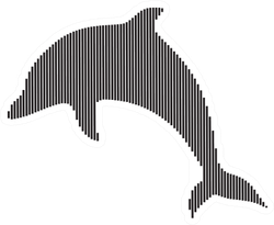 Black Silhouettes Of Dolphin With Line Art Sticker