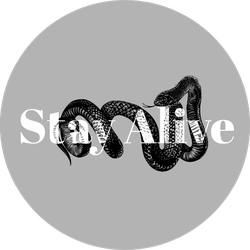 Black Snake Slogan Stay Alive Illustration Sticker