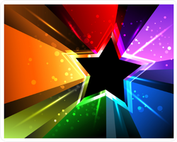 Black Star With Rainbow Rays Sticker