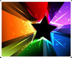 Black Star With Rainbow Rays Sticker