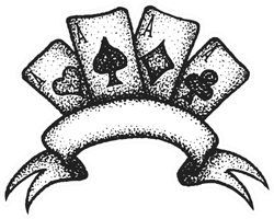 Black Tattoo Dot Art Four Aces Suit Of Playing Cards Sticker