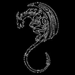 Black Winged Dragon Tattoo Sticker