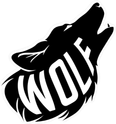 Black Wolf Silhouette and Text Sticker