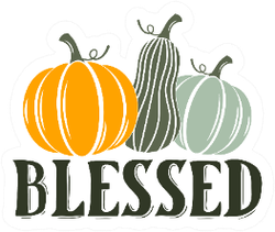 Blessed Thanksgiving Illustration Of Pumpkins Sticker