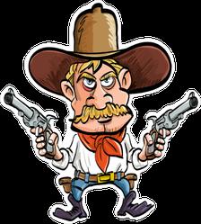 Blonde Cartoon Cowboy With Guns Drawn Sticker