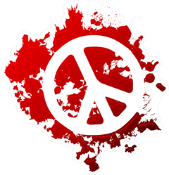 Blood Spatter Peace Sign Sticker