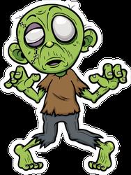 Bloodless Cartoon Zombie Sticker