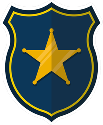 Blue and Gold Badge Sticker