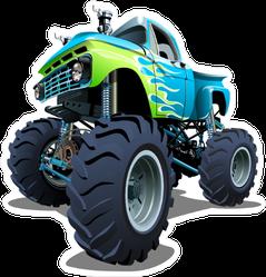 Blue and Green Cartoon Monster Truck Sticker