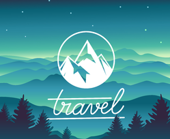 Blue and Green Mountain Landscape Travel Sticker