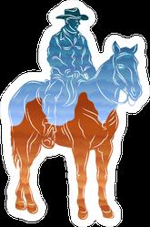 Blue and Orange Cowboy Sticker
