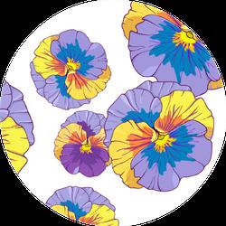 Blue And Purple Pansy Pattern Illustration Sticker