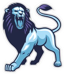 Blue and Purple Roaring Lion Mascot Sticker