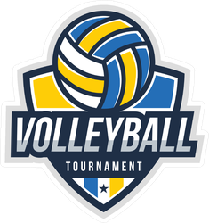 Blue and Yellow Volleyball Badge Sticker