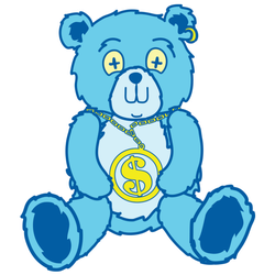 Blue Bear With Dollar Sign Chain Sticker