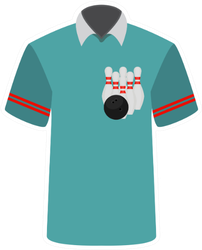 Blue Bowling Shirt Sticker