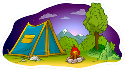 Blue Camping Tent With Campfire At Night Sticker