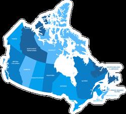 Blue Canada Regions Map Sticker