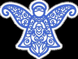 Blue Christmas Angel Spiral Pattern Sticker