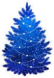 Blue Christmas Tree Sticker
