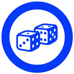 Blue Circle With Dice Sticker
