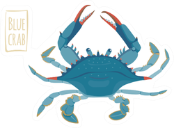 Blue Crab Illustration With Lettering Sticker