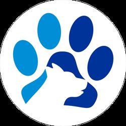 Blue Dog Paw Logo Sticker