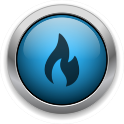 Blue Flame Button Sticker