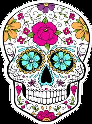 Blue Flower Eyes Sugar Skull Sticker