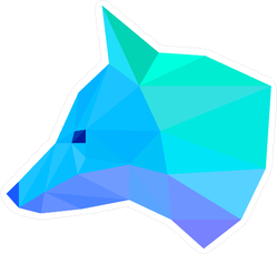 Blue Geometric Fox Head Sticker