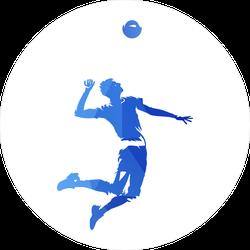 Blue Geometric Volleyball Player Serving Ball Sticker