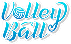 Blue Gradient Volleyball Lettering Text Sticker