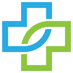 Blue Green Health Pharmacy Cross Sticker