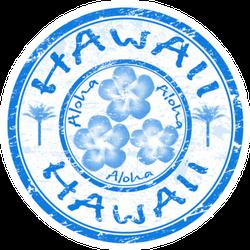 Blue Grunge Rubber Stamp Hawaii Sticker