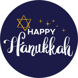 Blue Happy Hanukkah Circle Sticker