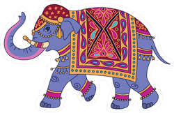 Blue Indian Elephant Sticker